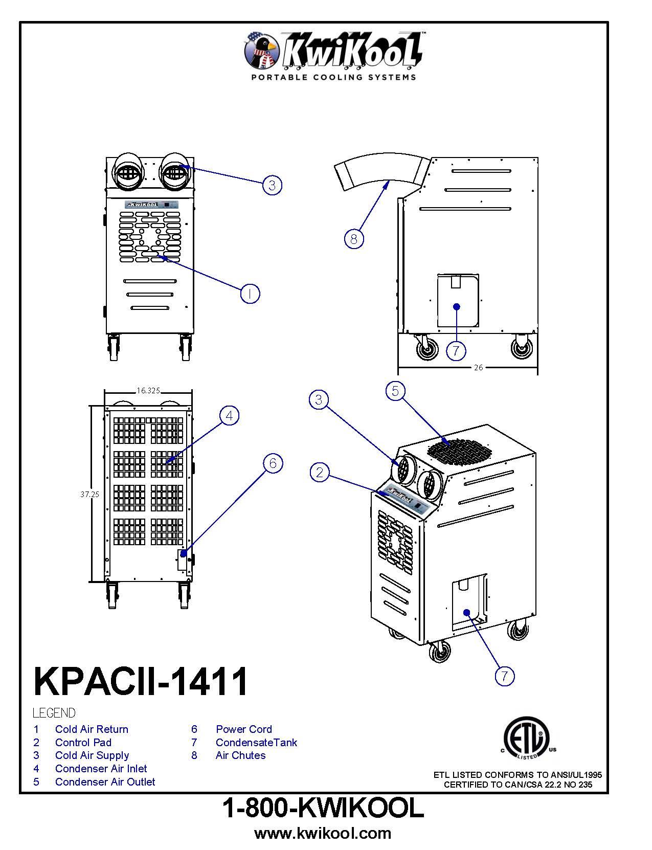 Kpac1411 2 Kwikool Motor Wiring Diagram Phase Water Cooler Detail Drawings